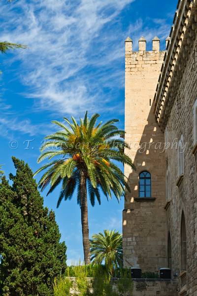 The old stone city walls in Palma de Mallorca, Spain.