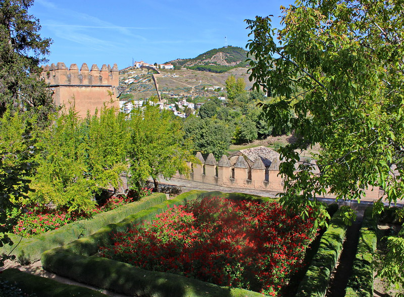 Generalife Gardens and Alhambra Fortress Wall