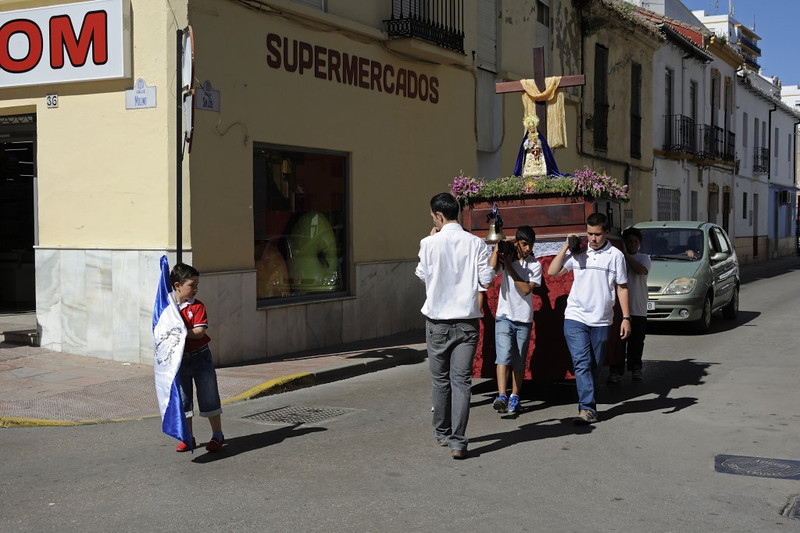 Ronda, Sat 3 May 2014 7.  Religious procession, possibly a positioning move for the Virgin Mary given the lack of specators on a Saturday.