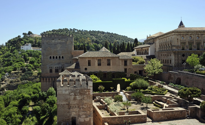 Alhambra, Granada, Mon 5 May 2014 13.  Looking east from the Alcazaba fortress towards the Nasrid palace with the Comares tower at left.  The Generalife is on the hillside beyond it.  The Charles V palace is at right.  Between it and the Comares tower is the myrtle courtyard (out of sight).