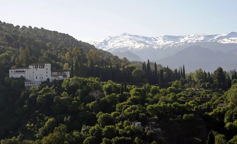 Generalife, Granada, Mon 5 May 2014 1.  Looking south east to the Sierra Nevada.