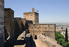 Alhambra, Granada, Mon 5 May 2014 12.  Alcazaba fortress.  Granada cathedral can just be seen in the distance at right.