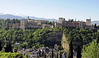 Alhambra, Granada, Mon 5 May 2014 1.  The classic view of the Moorish 'Red Castle', looking south east towards the Sierra Nevada.  The Alcazaba fortress is at right and the Nasrid palace at left.  The palace of Charles V is between them left of centre.