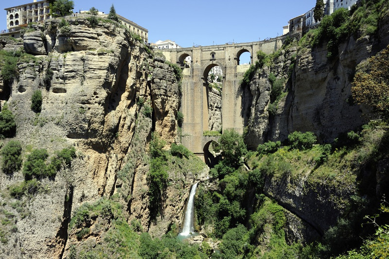 Ronda, Sat 3 May 2014 5.  Looking north east to the New Bridge, El Tajo gorge and the River Guadelevin.