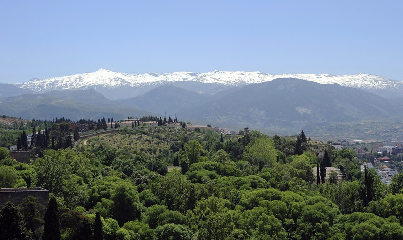 Sierra Nevada from the Alhambra, Granada, Mon 5 May 2014.  Looking south east.  The Costa del Sol is on the far side of the mountains, which are over 3000m / 10,000ft high,
