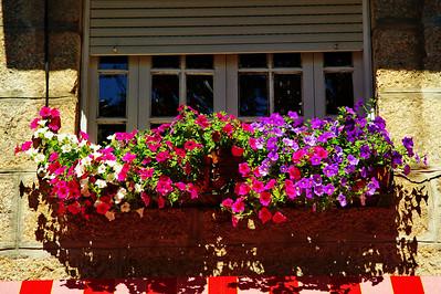Flower decorated window Vigo, Spain