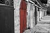BeachCabanas,b&w w red Door,Calella de Frugell, Girona,Spain_03033_1-17©DonnaLovelyPhotos.com