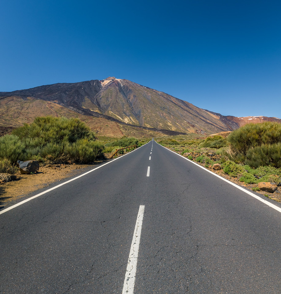 Looking down the road at Mt. Teide.