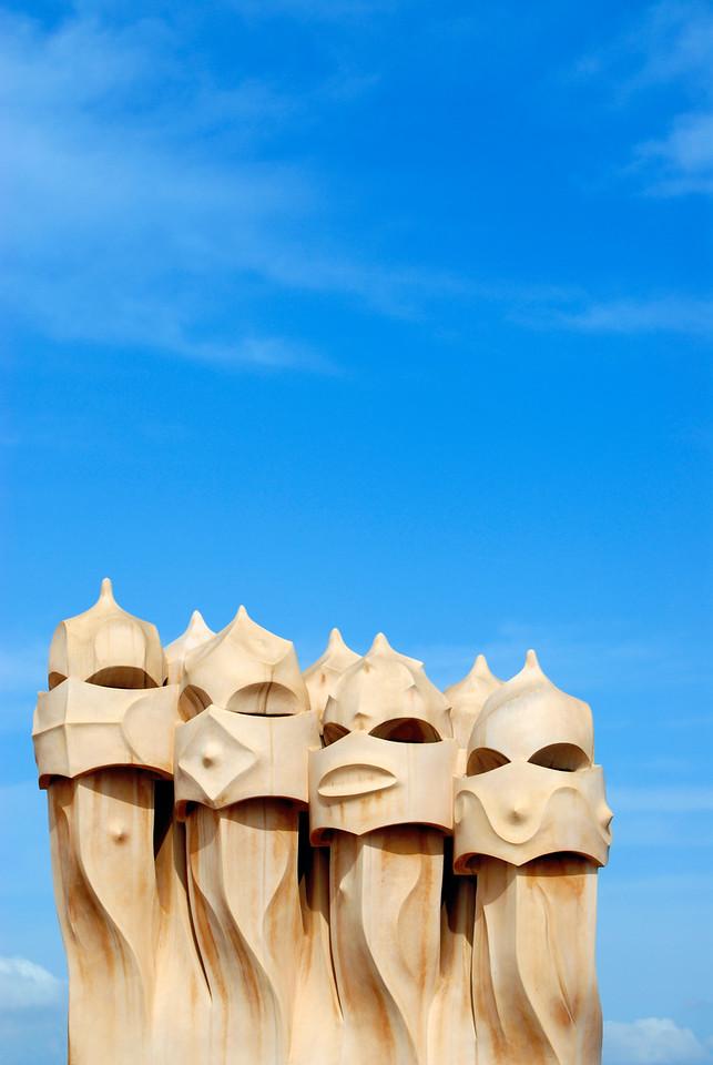Chimneys on Roof of Casa Mila, Barcelona