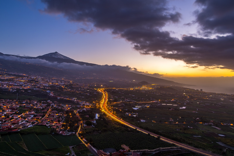 Sunset on the Island of Tenerife Spain with the Mt. Teide volcano in the background.