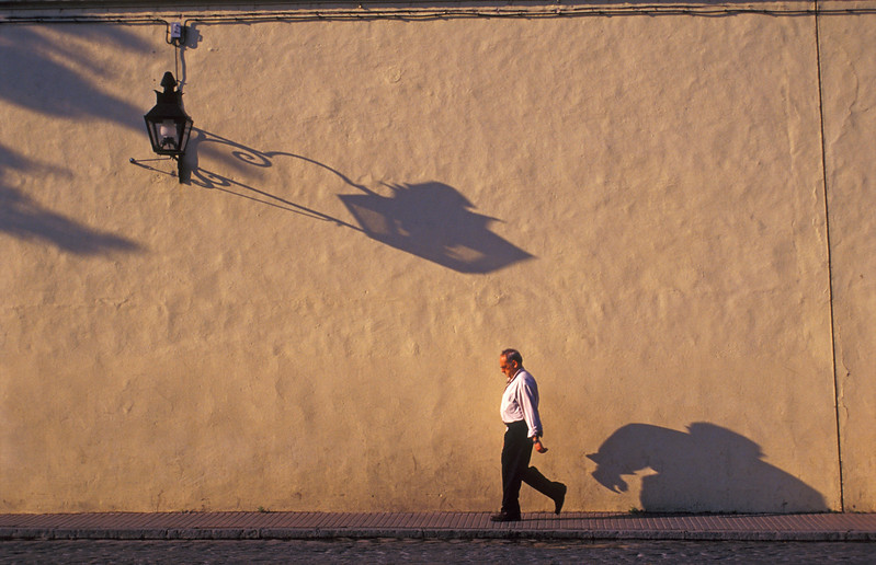 Street Scene with Man on Sidewalk, Cordoba (Spain)