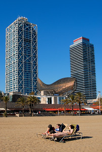 Sunbathers at Barcelona Beach