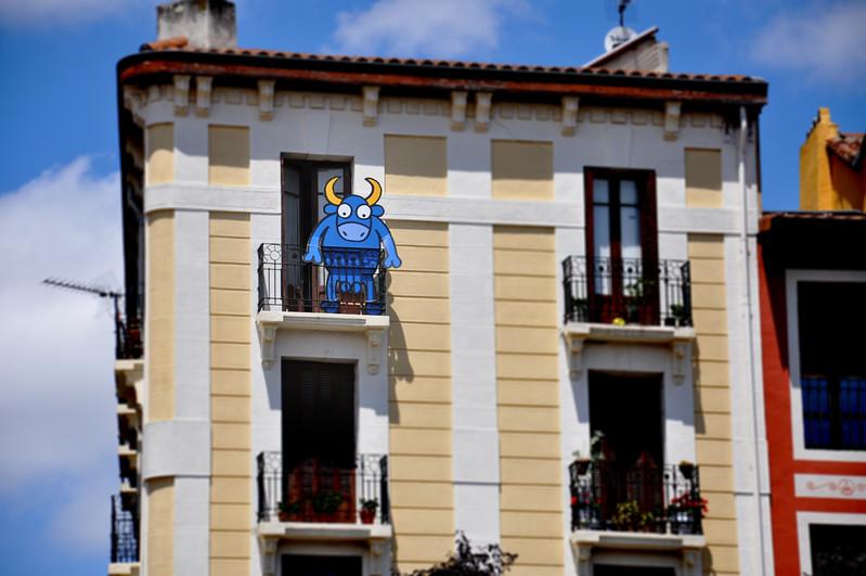 Cartoon Bull in Pamplona. 2011.
