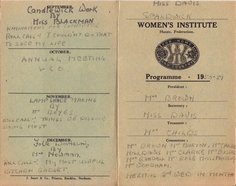 Spaldwick's Women's Institute 1950-51 Programme