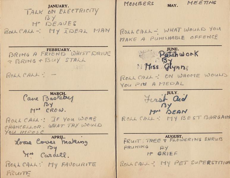 Spaldwick's Women's Institute 1950-51 Programme