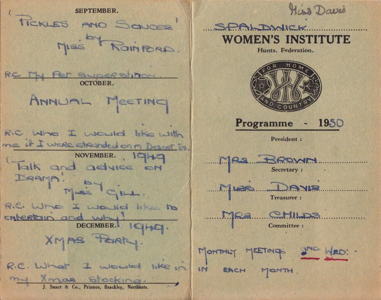 Spaldwick's Women's Institute 1950 Programme