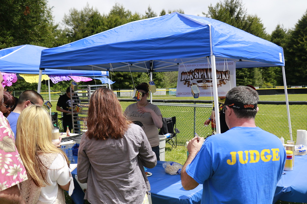 . Spamley Cup judges tasted all the Spam dishes. Fifteen teams were competing for for the Spamley Cup winning dish or the People\'s Choice Award. (Hunter Cresswell - The Times-Standard)