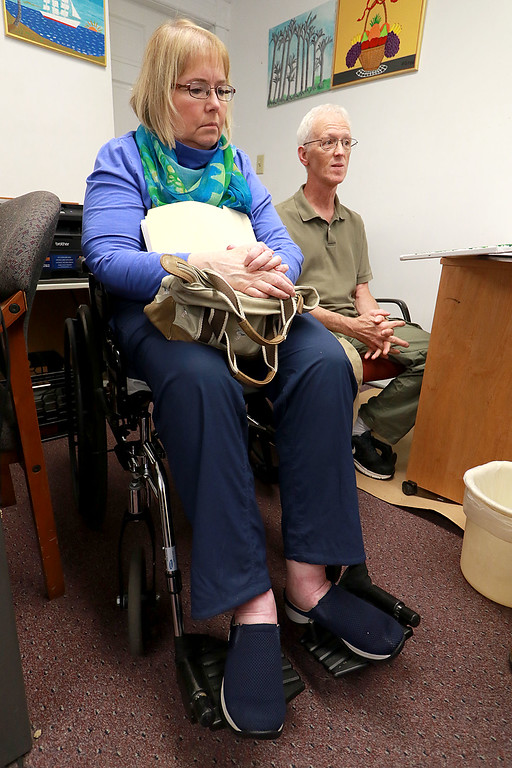 . Cheryl and Jean-Pierre Boissy talk about volunteering at the Leominster Spanish American Center, July 31, 2018. Cheryl, a board member at the Spanish American Center, started volunteering there after a multiple sclerosis diagnosis meant she could no longer work full time as a social worker. SENTINEL& ENTERPRISE/JOHN LOVE