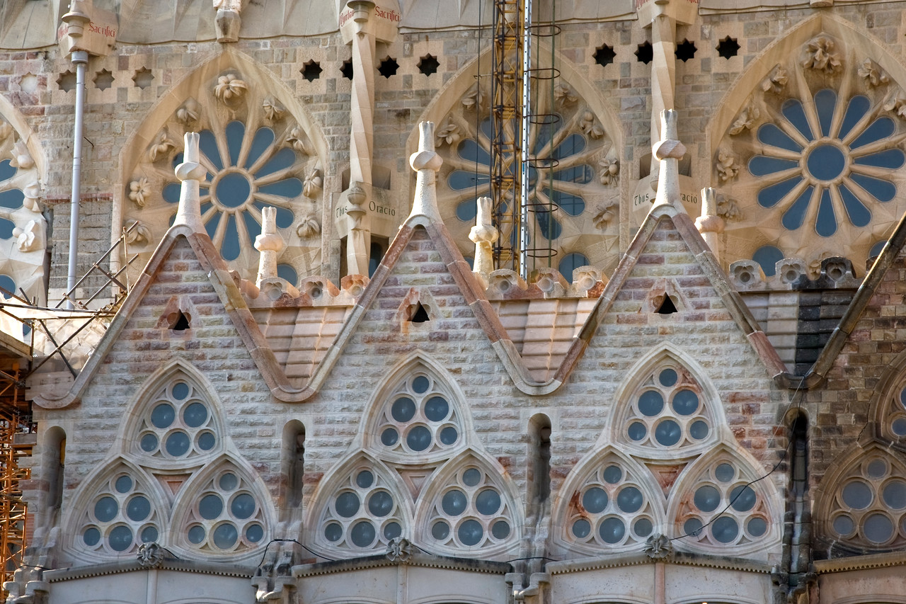 Windows of the Sagrada Familia Cathedral in Barcelona, Spain