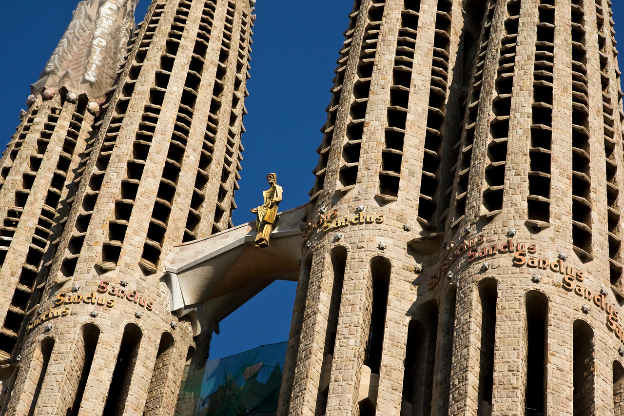Close up of the Sagrada Familia Cathedral in Barcelona, Spain