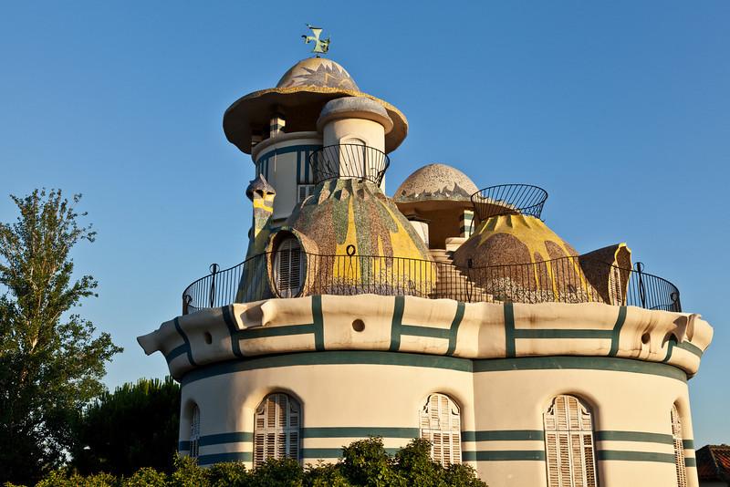 Anton Gaudi style building in St Just near Barcelona in Spain