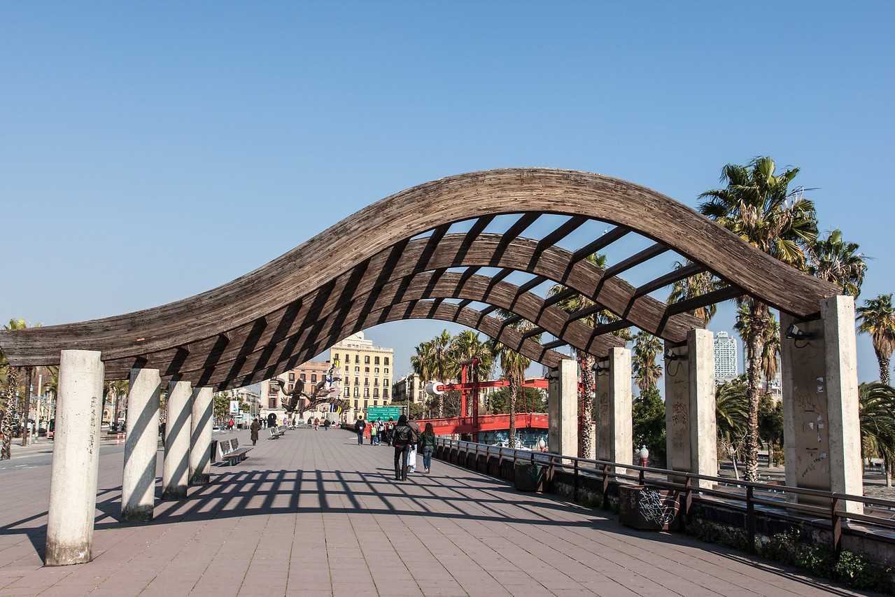 The Paseo Maritimo in Barcelona, Spain