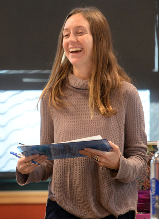. Elizabeth Leach teaches the class. Peak to Peak Charter School has unveiled a new �Spanish for Heritage-Speakers� course this year that is providing 23 Spanish heritage speakers in grades 6-12 the ability to achieve full academic bi-literacy.  Cliff Grassmick  Photographer November 15, 2017