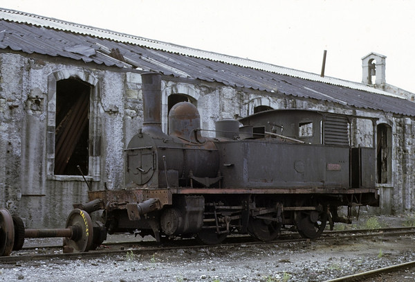 RENFE 0-6-0T 030.0219, Miranda de Ebro, August 1972.  Built by E Otlet 792 / 1889 for the Gran Cental Espanol.  Photo by Les Tindall.