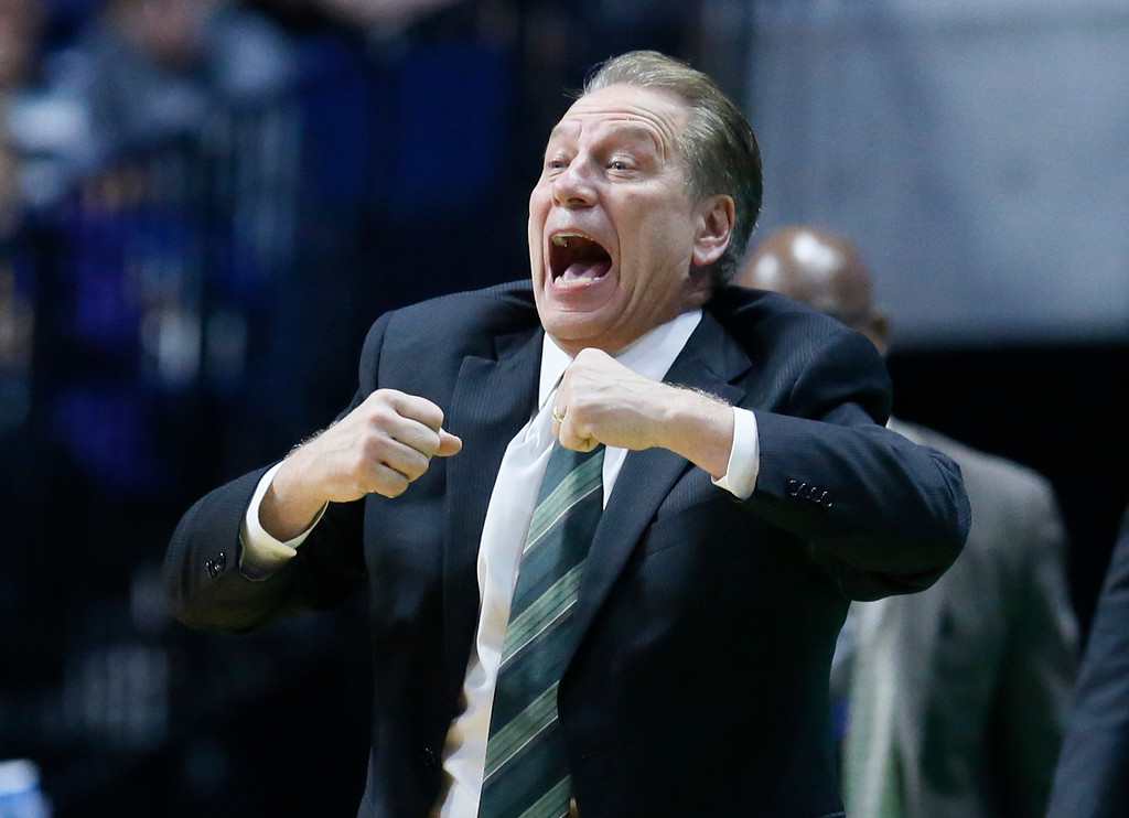 . Michigan State head coach Tom Izzo gestures in the second half of a first-round game against Miami in the men\'s NCAA college basketball tournament in Tulsa, Okla., Friday, March 17, 2017. Michigan State won 78-58. (AP Photo/Sue Ogrocki)