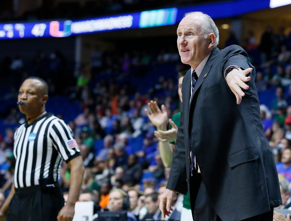 . Miami head coach Jim Larranaga gestures in the second half of a first-round game against Michigan State in the men\'s NCAA college basketball tournament in Tulsa, Okla., Friday, March 17, 2017. Michigan State won 78-58. (AP Photo/Sue Ogrocki)
