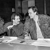 """Centre tuometinis """"Komjaunimo Tiesos"""" redaktorius Gedvydas Vainauskas ir Vidas Rachlevičius (D)  1989m."""