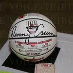 A signed Denny Crum UL 100th Season basketball was a silent auction item.