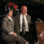 Spalding University President Tori Murden and Athletic Director Roger Burkman enjoyed a laugh together during  live auction portion of the program.
