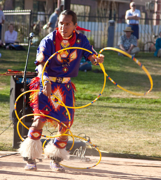 Tony Duncan, 5 time world hoop dancing champion at the 54th annual Heard Museum Indian Fair & Market, March 4, 2012.  He was also the Native American flute player in the group Estun-Bah.