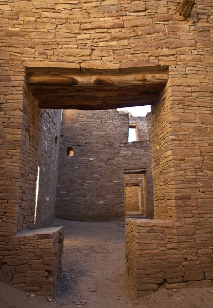 Inside the main Great House at Chaco Canyon.  All walls, even the interior walls were approximately 2 feet thick.  This Great House was 4 or 5 stories high, and was built about 950 AD as living quarters for several families.  This community was the social and economic center for the Pueblo Indians, and a large assortment of ceremonial rooms were in the complex.