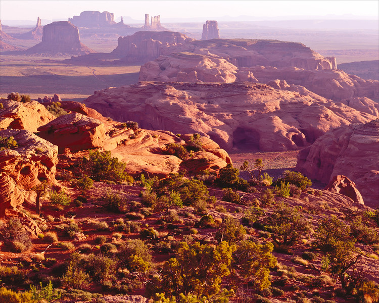 Looking down on Monument Valley from Hunt's Mesa at dawn.