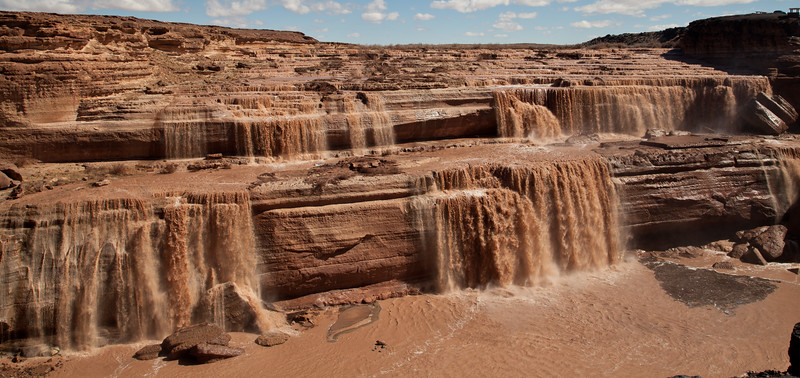 At 185 feet tall, Grand Falls is higher than Niagra Falls.  This is on the Lower Colorado River and is North East of Flagstaff, AZ.  It only flows after big rain fall.