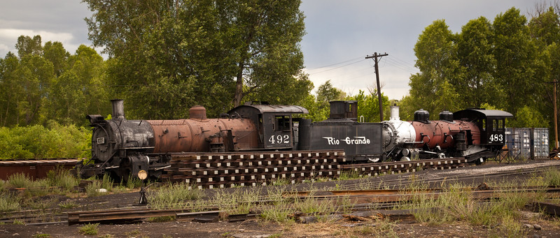 Old, worn out engines being used for parts on the Cumbres & Toltec Railroad in Chama, NM.