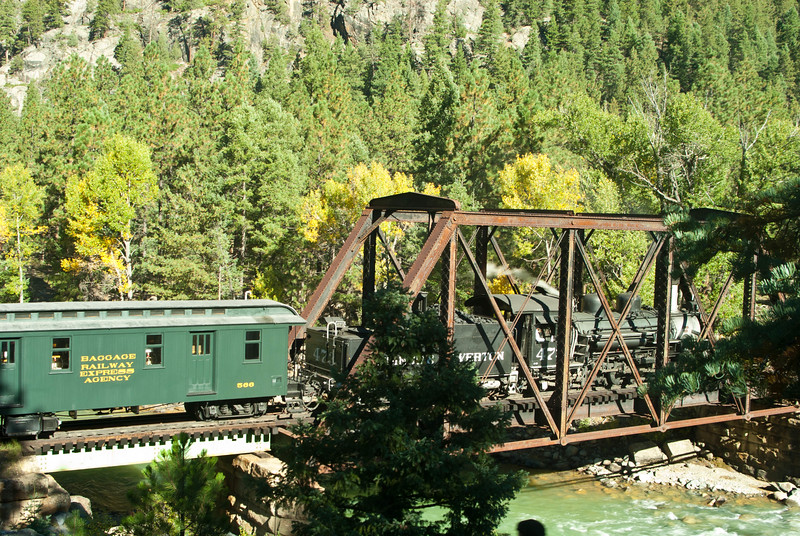 A Durango & Silverton train crossing a bridge on it's way to Durango, Fall of 2011.