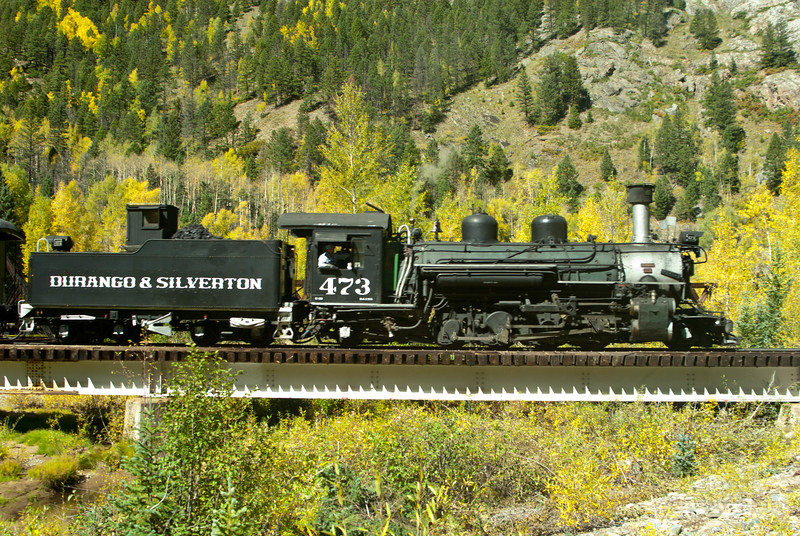 Durango & Silverton Narrow Gauge Railway, engine # 473 going over a bridge enroute to Durango.