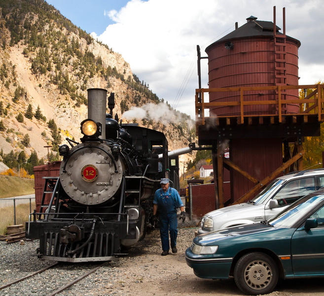 Engine # 12 of the Georgetown Loop Railroad taking on water in the Silver Plume station.