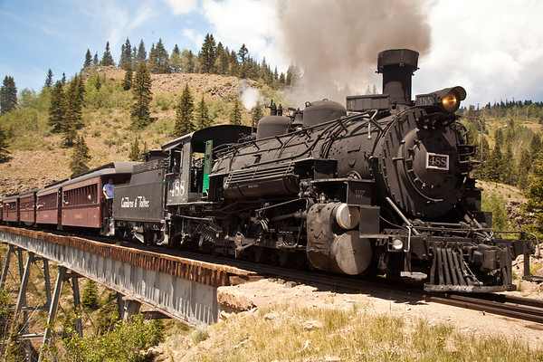 Cumbres & Toltec engine 488 crossing the Cascade Trestle bridge, the tallest railroad bridge in the country, heading to Chama, NM.  This was taken July 4, 2014, and a few minutes after this was taken, a hailstorm started.