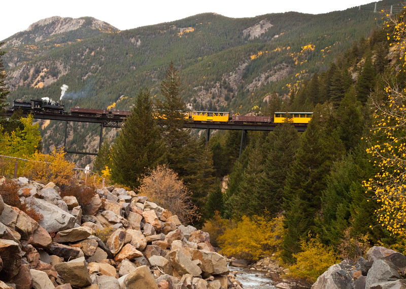 The Georgetown Loop scenic railway on the bridge where it winds over itself to gain needed elevation to get to the next station.