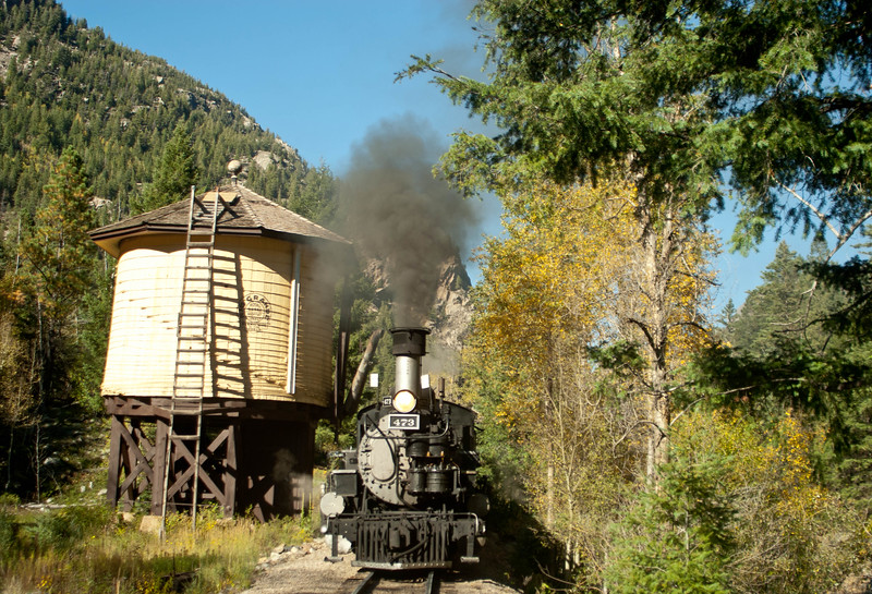Durango & Silverton Narrow Gauge Railway engine # 473 stopping to take on some water enroute to Durango, Colorado.