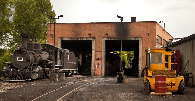 Engines of the Cumbres & Toltec Railroad going in to the engine house in Chama, NM, at the end of the day.