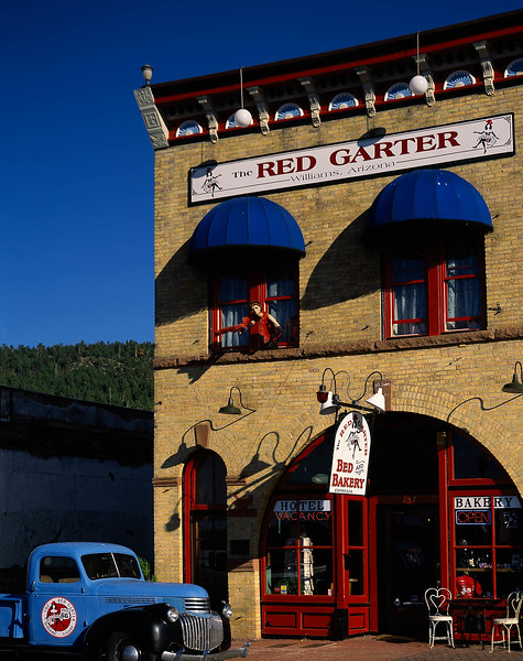 The Red Garter in Williams, AZ started out as a brothel over a hundred years ago.  Now it is a comfortable bed & breakfast, with a nice, friendly bakery downstairs.  The clothes on the second story mannequin (Womenequin?) are changed regularly, but she always manages to attract attention.