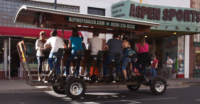 A bicycle built for 13.  Where else but Flagstaff, AZ, on Route 66