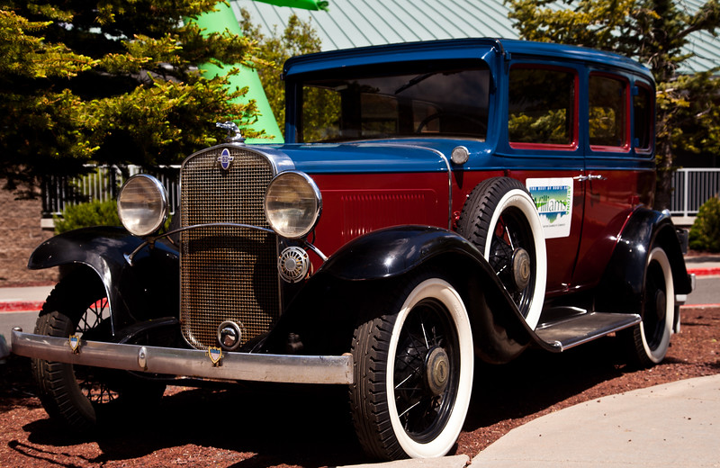 An old Chevrolet at a car show at the station of the Grand Canyon Railway in Williams, AZ.