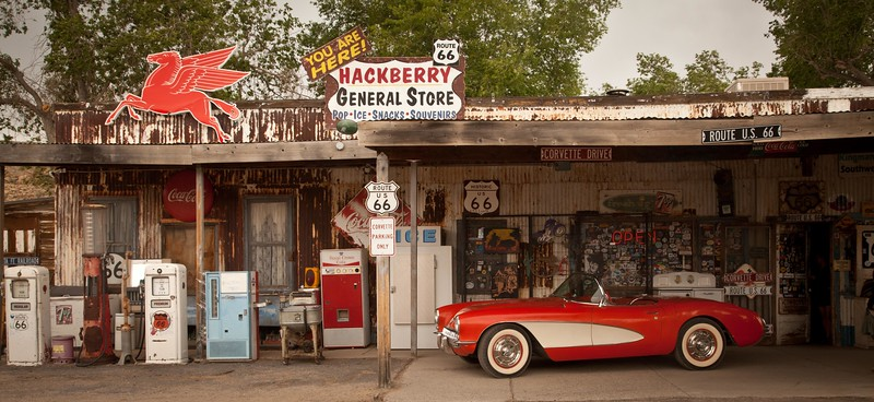 The Hackberry General Store is the downtown of Hackberry, AZ.  This is a fun, whimsical store celebrating everything Route 66, Elvis, old cars, and pretty girls.  Hackberry is 23 miles East of Kingman.
