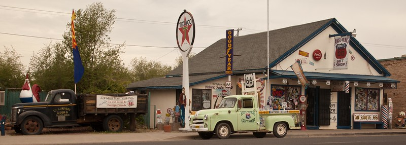 Angel Delgadillo's gift shop and barber shop in Seligman, AZ, turned in to a bit of a shrine to the rebirth of Route 66.